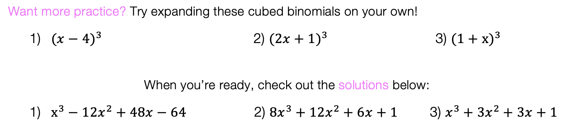 Binomial Cubic Expansion