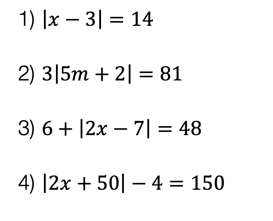 Absolute Value Equations examples
